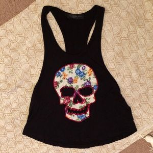 The Classic floral skull racerback tank